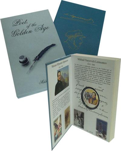 Изображение Подарочные монеты Новая Зеландия Ниуэ Михаил Лермонтов 2012 Серебро Proof