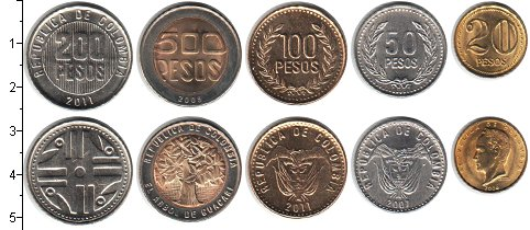 Изображение Наборы монет Южная Америка Колумбия Колумбия 2006-2012 0  UNC-