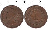 Изображение Монеты Стрейтс-Сеттльмент 1 цент 1875 Медь VF Виктория