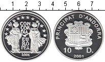 Изображение Монеты Андорра 10 динерс 2001 Серебро Proof-