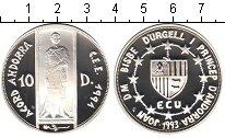 Изображение Монеты Андорра 10 динерс 1993 Серебро Proof-