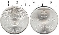 Изображение Монеты Словакия 200 крон 1993 Серебро UNC 200 лет со дня рожде