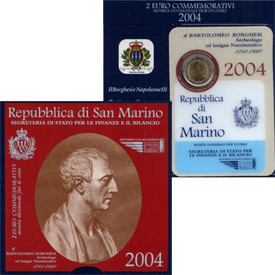 Изображение Подарочные монеты Европа Сан-Марино 2 евро 2004 Биметалл UNC
