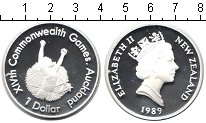 Изображение Монеты Новая Зеландия 1 доллар 1989 Серебро Proof Игры Содружества нац