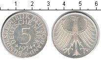 Изображение Мелочь Германия ФРГ 5 марок 1974 Серебро UNC-