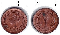 Изображение Монеты Цейлон 1/4 цента 1890 Медь XF