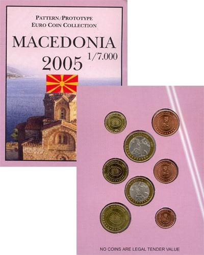 Изображение Подарочные монеты Европа Македония Набор монет Евро-модель 2005  UNC