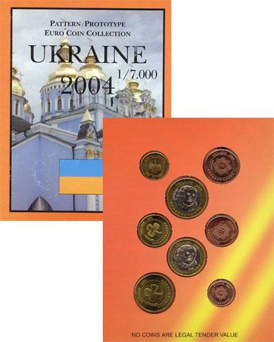 Изображение Подарочные монеты Украина Набор монет Евро-модель 2004  UNC