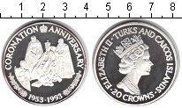Изображение Монеты Великобритания Теркc и Кайкос 20 крон 1993 Серебро Proof-
