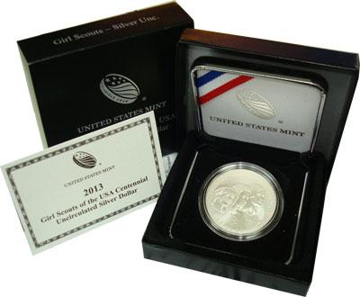 Изображение Подарочные монеты Северная Америка США Девушки-скауты 2013 Серебро UNC