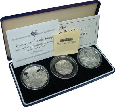 Изображение Подарочные монеты Европа Великобритания 50- летие победы в Великой Отечественной Войне 1995 Серебро Proof