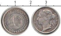 Изображение Монеты Стрейтс-Сеттльмент 10 центов 1893 Серебро XF