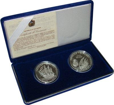 Изображение Подарочные монеты Европа Сан-Марино Америго Веспуччи 1995 Серебро Proof