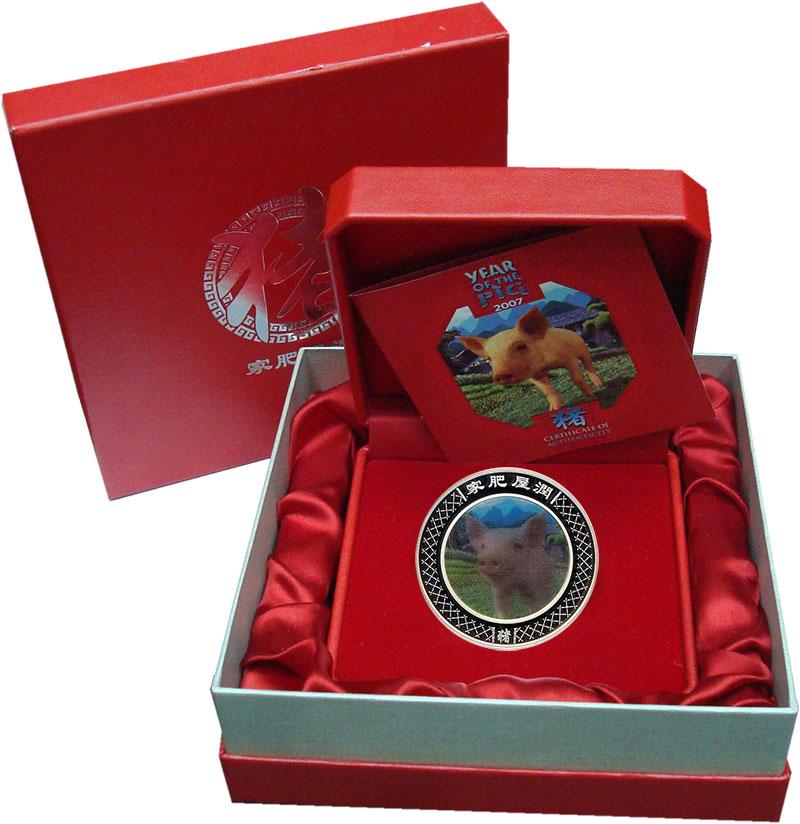 Изображение Подарочные монеты Австралия Год свиньи 2007 Серебро Proof