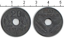 Изображение Мелочь Европа Франция 20 сантим 1941 Цинк