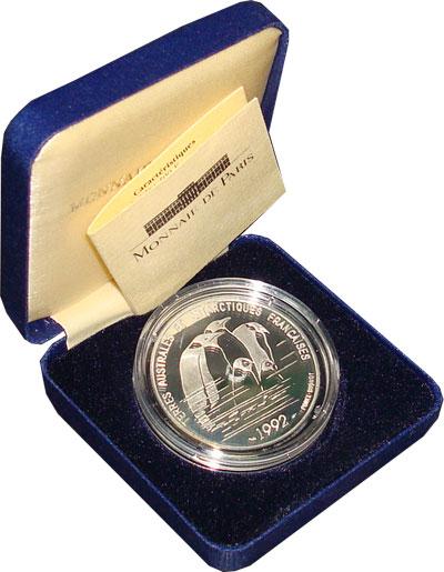 Изображение Подарочные монеты Франция Исследования Антарктики 1992 Серебро Proof