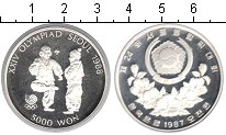 Изображение Монеты Южная Корея 5000 вон 1987 Серебро Proof- XXIV Олимпиада Сеул