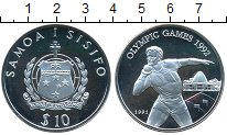 Изображение Монеты Самоа 10 тала 1991 Серебро Proof-