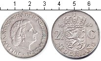 Изображение Монеты Нидерланды 2 1/2 гульдена 1960 Серебро XF