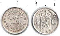 Изображение Монеты Нидерланды Нидерландская Индия 1/10 гульдена 1945 Серебро XF