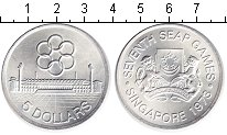 Изображение Монеты Сингапур 5 долларов 1973 Серебро UNC Игры полуострова Юго