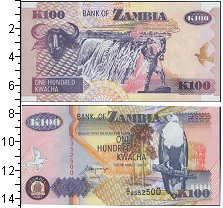 Изображение Банкноты Африка Замбия 100 квач 1992  UNC