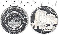 Изображение Монеты Либерия 20 долларов 2000 Серебро Proof- Мадрид.