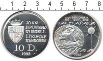 Изображение Монеты Андорра 10 динерс 1992 Серебро Proof- Открытие Нового свет