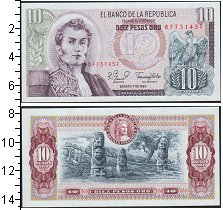 Изображение Банкноты Южная Америка Колумбия 10 песо 1980  UNC