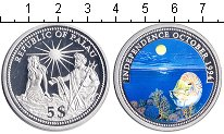 Изображение Монеты Палау 5 долларов 1994 Серебро Proof Независимость