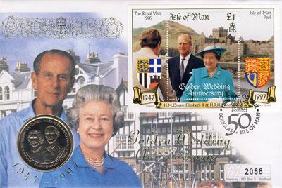 Изображение Подарочные монеты Великобритания Остров Мэн Золотой юбилей бракосочетания королевы Елизаветы и Филиппа 1997 Медно-никель UNC