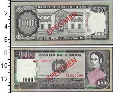 Изображение Банкноты Боливия 1000 боливиано 1982  UNC-