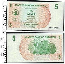 Изображение Банкноты Африка Зимбабве 5 долларов 2007  UNC-