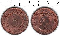 Изображение Мелочь Маврикий 5 центов 1971 Медь XF+