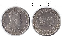 Изображение Монеты Великобритания Стрейтс-Сеттльмент 20 центов 1910 Серебро XF