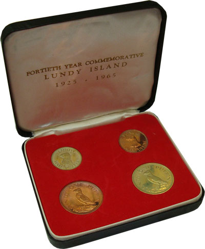 Изображение Подарочные монеты Великобритания Лунди Выпуск 1965 1965 Медь Proof