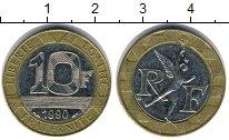 Изображение Дешевые монеты Франция 10 франков 1990