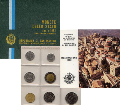 Изображение Подарочные монеты Европа Сан-Марино Регулярный выпуск 1982 года 1982