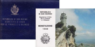 Изображение Подарочные монеты Сан-Марино Регулярный выпуск 1988 года, 1988  UNC
