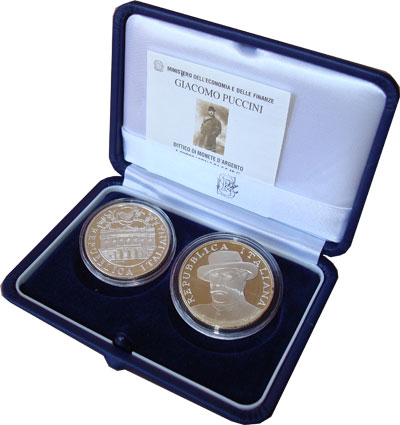Изображение Подарочные монеты Европа Италия Джакомо Пуччини 2004 Серебро Proof