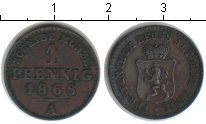 Изображение Монеты Германия Рейсс-Оберграйц 1 пфенниг 1868 Медь XF
