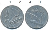 Изображение Дешевые монеты Италия 10 лир 1951