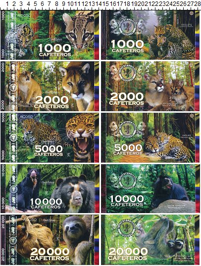 Изображение Банкноты Южная Америка Колумбия 38000 кафетерос 2014  UNC