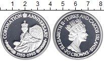 Изображение Монеты Теркc и Кайкос 20 крон 1993 Серебро Proof- 40 лет Коронации