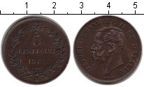 Изображение Монеты Италия 5 сентесим 1861 Медь XF