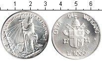 Изображение Монеты Ватикан 1000 лир 1990 Серебро XF