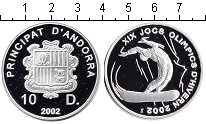 Изображение Монеты Андорра 10 динерс 2002 Серебро Proof XIX зимние Олимпийск