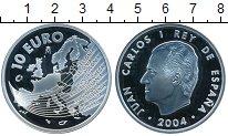 Изображение Монеты Испания 10 евро 2004 Серебро Proof-