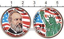 Изображение Цветные монеты США 1 доллар 2011 Латунь UNC 20-й президент. Джей