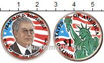 Изображение Цветные монеты США 1 доллар 2014  UNC 32-й президент. Фран